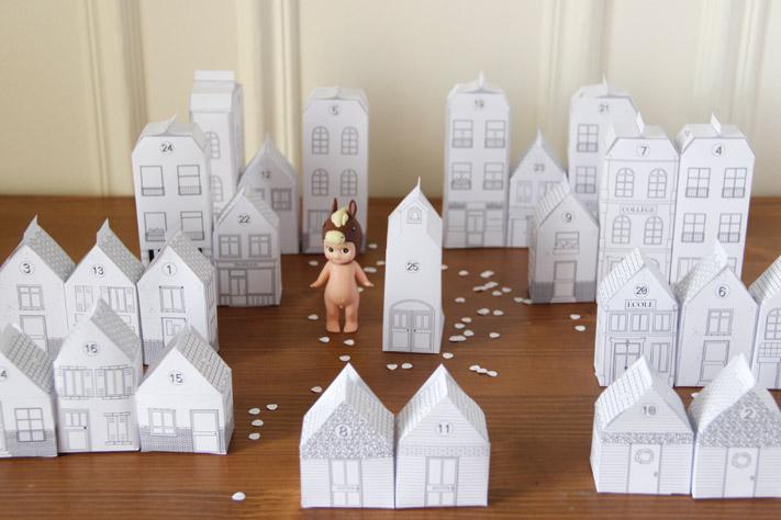Une ville pour l 39 avent la mouflette - Maison en papier pliage ...
