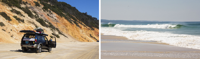 Rainbow beach, 4X4 and wave